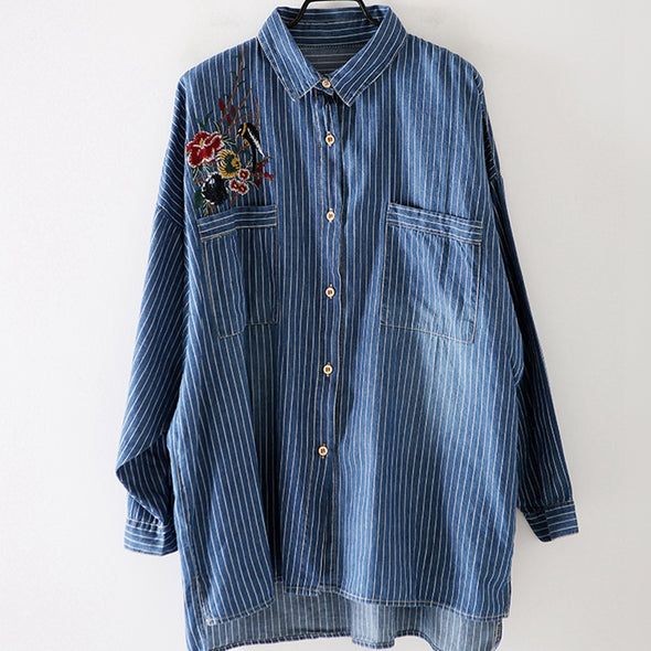 Casual Striped Blue Cotton Shirt Women Blouse For Fall C3665