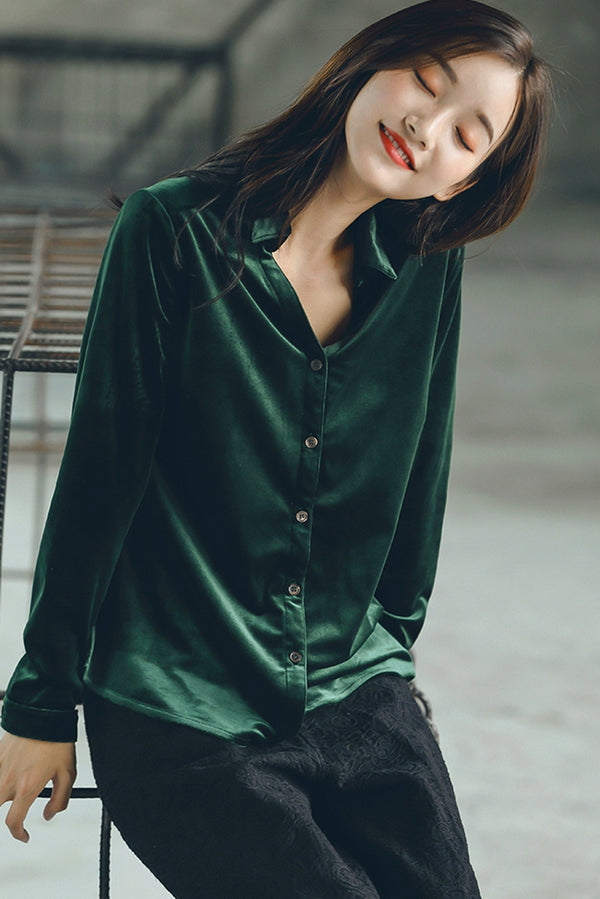 Cute Green Velvet Shirt Women Fall Tops S1791