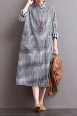 Linen Plaid Casual Loose Shirt Dress,Long Shirt for Women Q7810