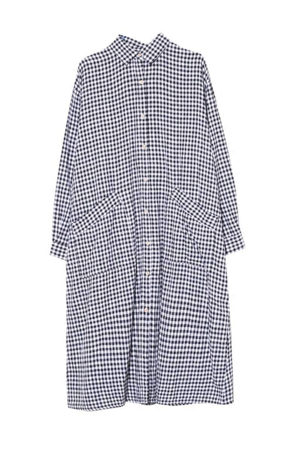 Linen Plaid Casual Loose Shirt Dress,Winter Long Shirt for Women Q7810 - FantasyLinen