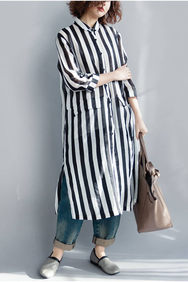 Black And White Striped Long Shirt Dress For Women Q1643 – FantasyLinen e153af0b5