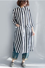Black And White Striped Long Shirt Dress For Women Q1643