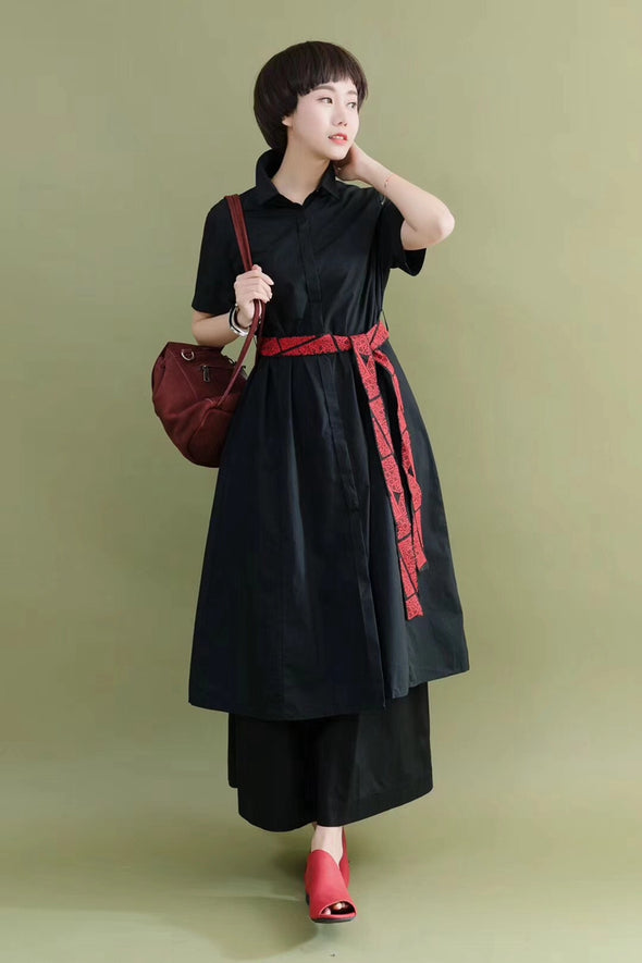 FantasyLinen Embroidery Belt Red Cotton Linen Casual Loose Fitting Shirt Dresses