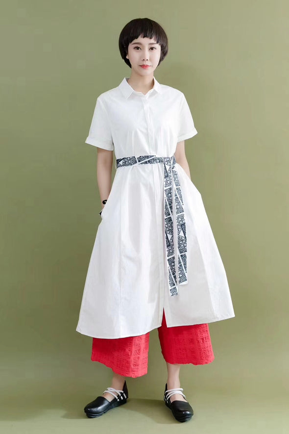 FantasyLinen Embroidery Belt Black Cotton Linen Casual Loose Fitting Shirt Dresses