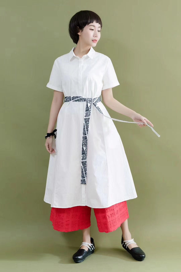 FantasyLinen Embroidery Belt White Cotton Linen Casual Loose Fitting Shirt Dresses