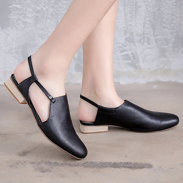 Cute Leather Flat Heel Black Sandals Women Shoes X1167