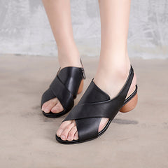 Black Leather Mid Heel Sandals Women Cute Shoes X1165