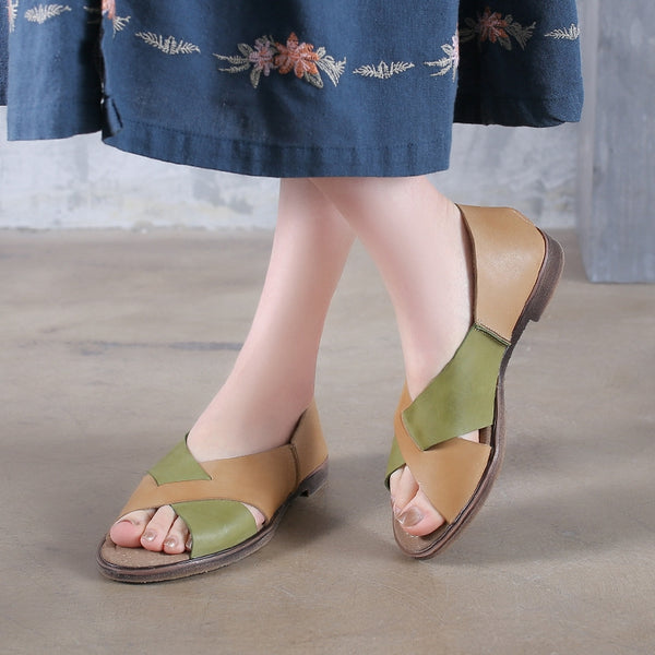 Summer Leather Quilted Flat Heel Sandals Women Green Shoes X1164