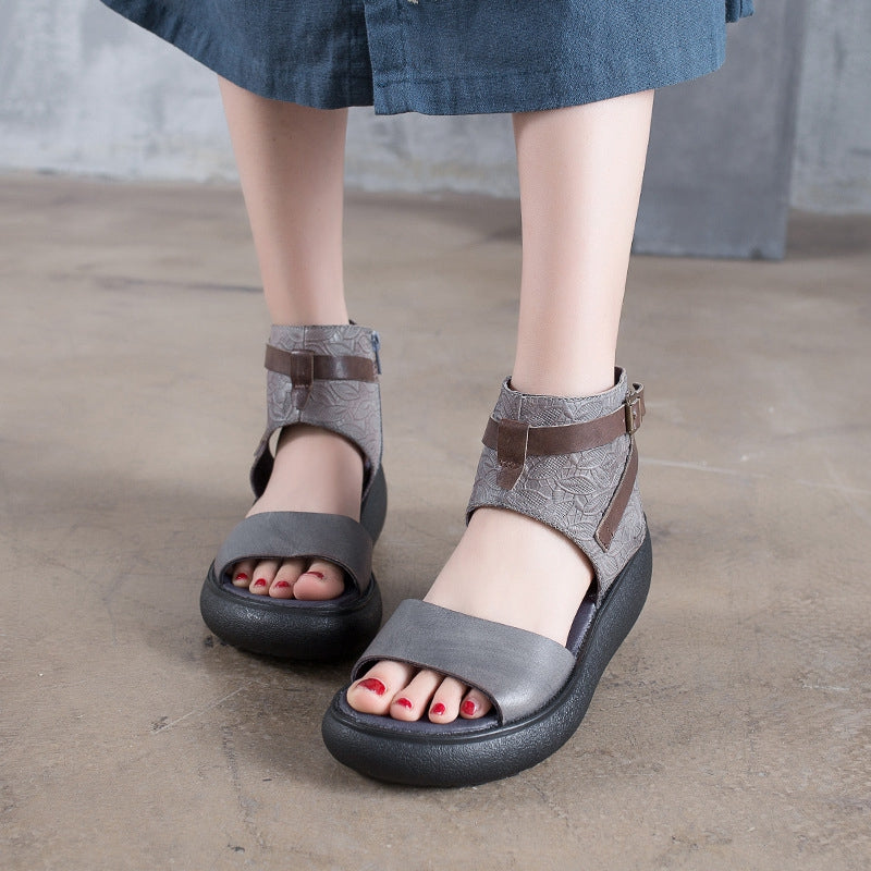 55ad0cbab35 Fashion Platform Leather Gray Sandals Women Shoes X1163