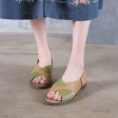 92b6a2d3910 Summer Leather Quilted Flat Heel Sandals Women Green Shoes X1164