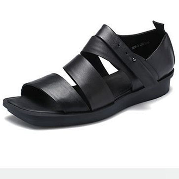 Women Leather Mid Heel Black Sandals Summer Shoes X1166
