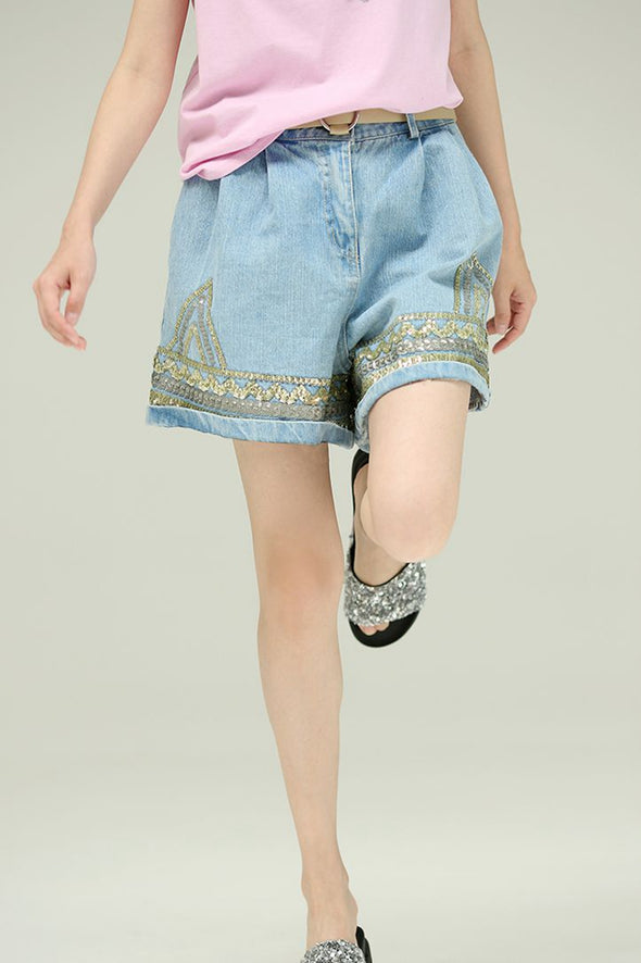 Loose Contrast Sequin Thin Cotton Denim Shorts Women Trousers N1853