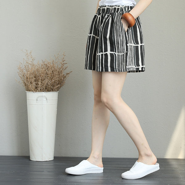 Casual Black Striped Shorts Women Linen Pants Q1258