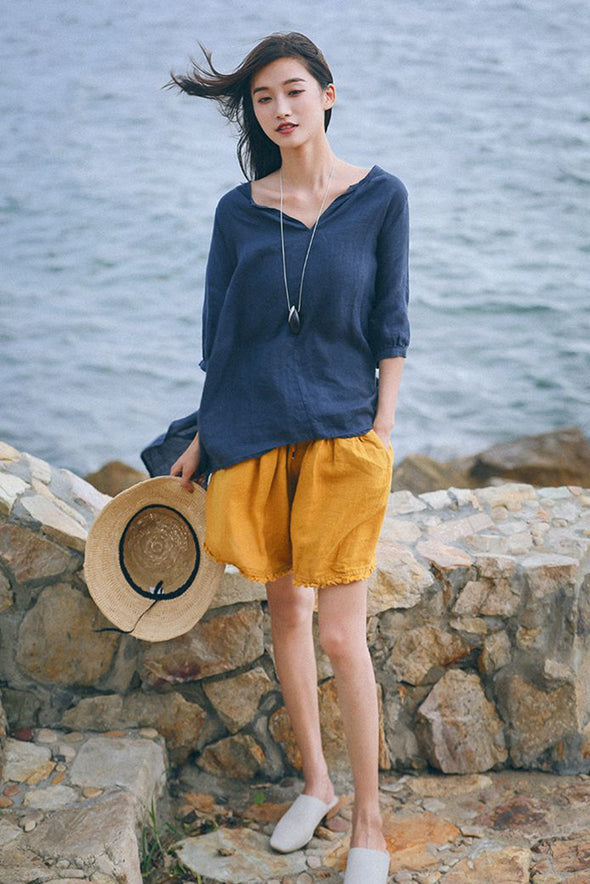 Casual Summer Linen Shorts Women Cool Trousers K6084