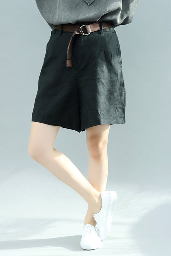 Linen Casual Wide Leg Shorts With Belt Women Trousers K2857
