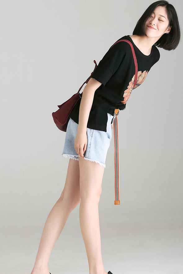 Loose Wide Leg Denim Shorts Women Casual Cotton Jeans N2317