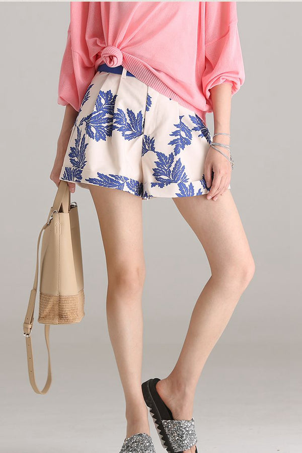 Fashion Printed High Waist Wide Leg Shorts Women Trousers K8112