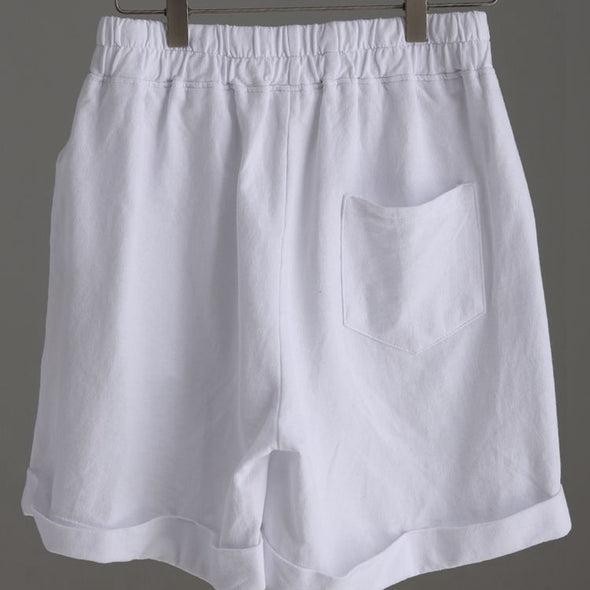 Casual Wide Leg White Cotton Shorts For Women K2219 - FantasyLinen