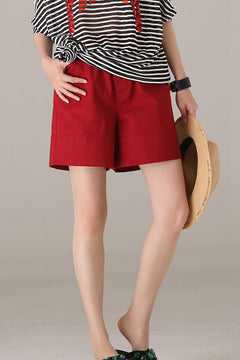 Casual Wide Leg Cotton Shorts Women Summer Pants K9283