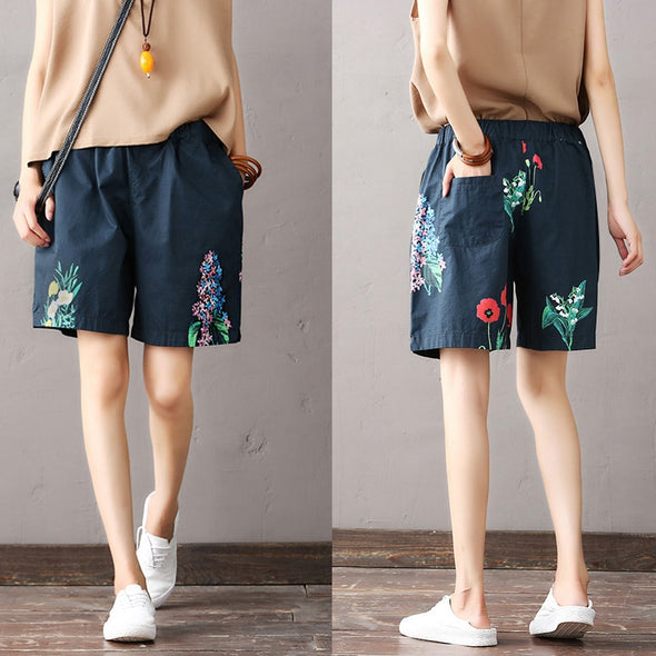 Casual High Waist Print Shorts Women Summer Wide Leg Pants K1962