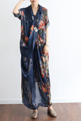 Printing Women Summer Loose Casual Irregular Floral Blue Maxi Dress