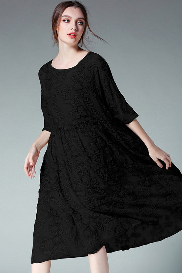 Silk Embroidery Black Plus Size Dresses