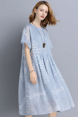 FantasyLinen Blue Big Size Casual Loose Summer Dresses V9180