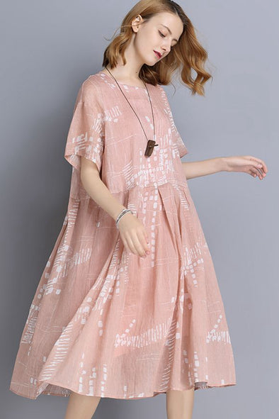 FantasyLinen Pink Big Size Casual Loose Summer Dresses V9180
