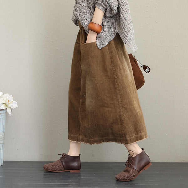 Elegant Vintage Thicken Corduroy Winter Skirt For Women Q1616
