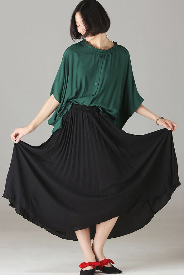 Casual Black Pleated Skirt Women Loose Outfits Q7555