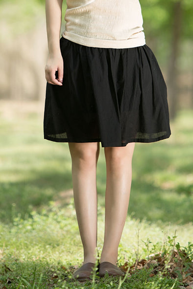 Art Short Pleated Skirt Women Summer Dress Q1551 - FantasyLinen