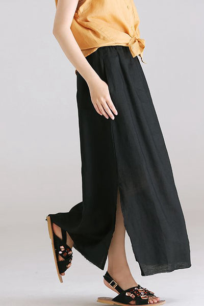 Loose Waist A Line Black Skirt Women Casual Clothing Q1872