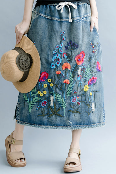 Casual Embroidery Denim Skirt Women Cotton Clothes Q1075