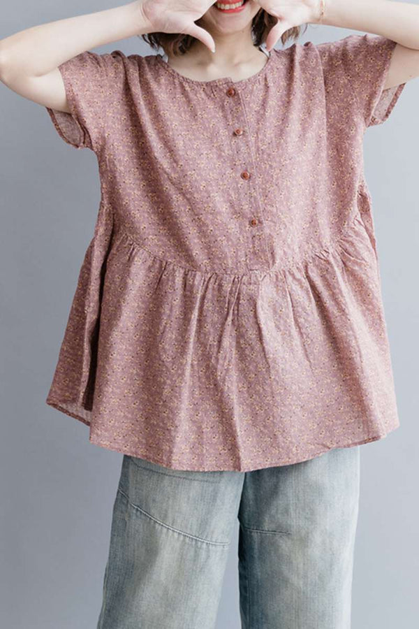 Women Summer Floral Cotton Linen Short T Shirt S2342