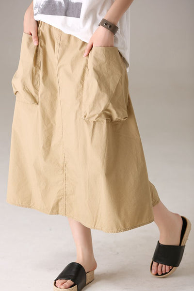 Casual Khaki Long Skirt Women Summer Cotton Outfits Q8999