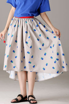 Loose Beige Polka Dot Skirt Women Fashion Outfits Q1702