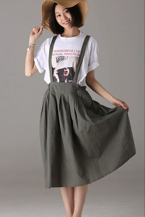 Loose Green Suspender Skirt Women Cotton Linen Clothes Q2155