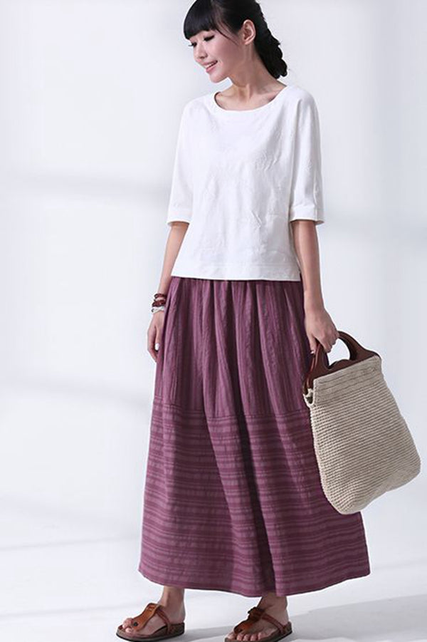 Vintage Purple Striped Long Pleated Skirt For Women Q7055