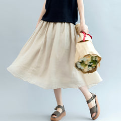 Loose Beige Linen Skirt Women Casual Clothes Q3072