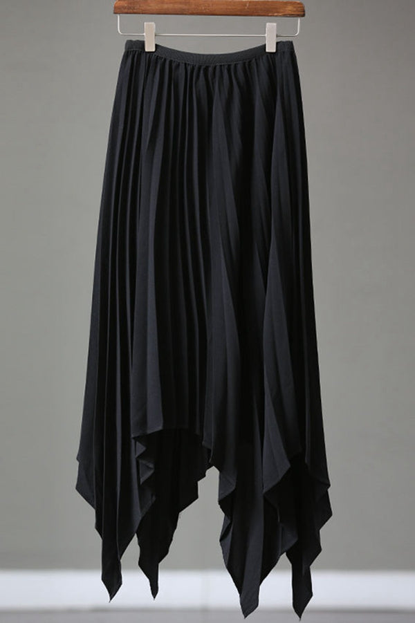 Women Summer Black Chiffon Loose Pleated Skirt Q1017 - FantasyLinen