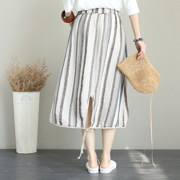 Casual Gray Striped Skirt Linen Clothes For Women Q1267
