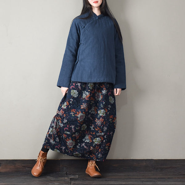 Vintage Print Blue Floral Cotton Linen Thicken Skirt For Women Q1215