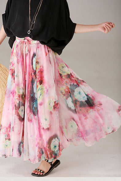Cute Print Pink Floral Skirt Women Fashion Outfits Q2700