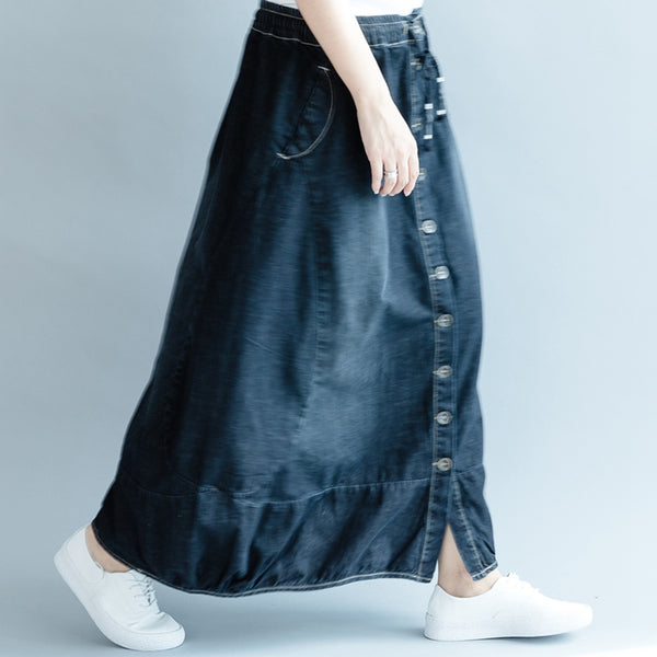 Casual Button Down Blue Denim Skirt For Women Q2086