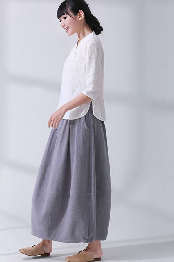 Loose Art Cotton Linen Buds Skirt For Women Q7052