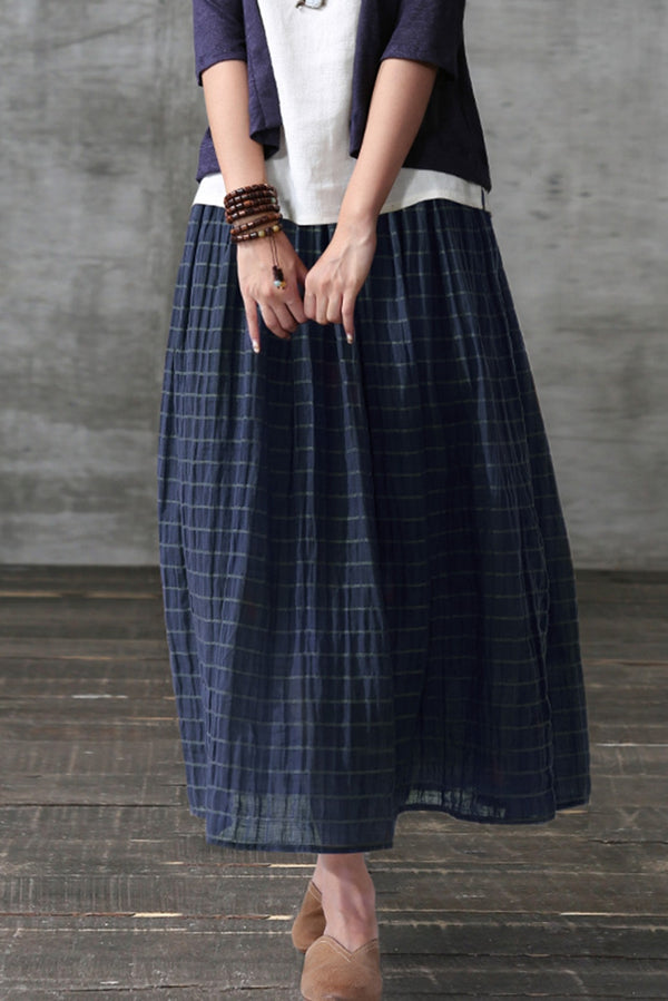 Women Striped Linen Full Long Pleated Skirt Q7054