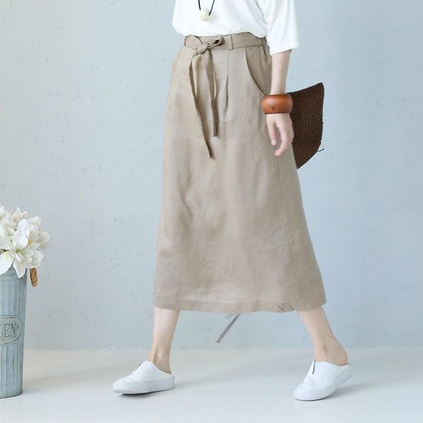 Summer Casual Long Skirt Linen Clothes For Women Q1187