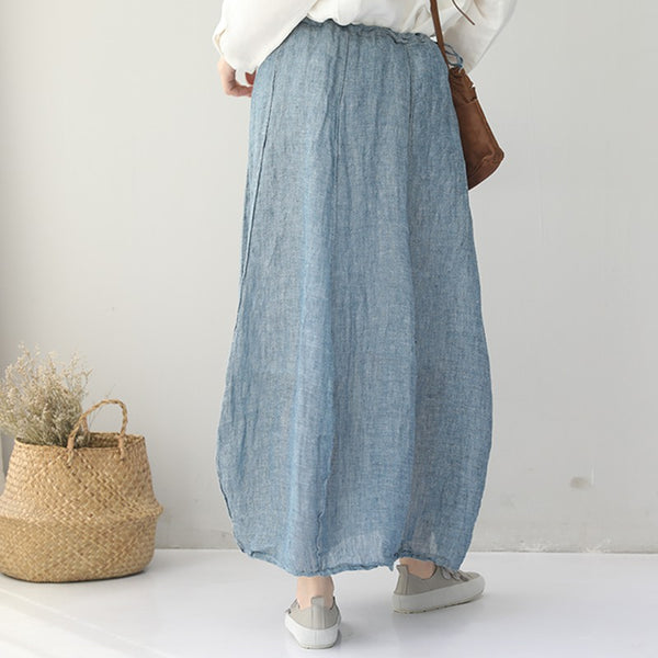 Vintage Casual Cotton Linen Skirts For Summer Women Clothes Q9081