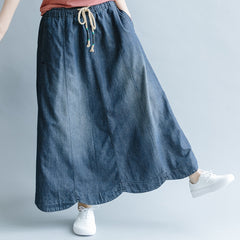 Casual Blue Denim Skirt Women Fashion Outfits Q1074
