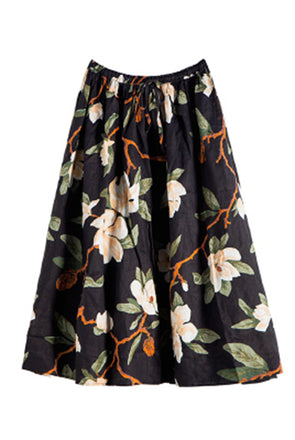 Casual Floral Print Black Skirt Linen Clothes For Women S1868A